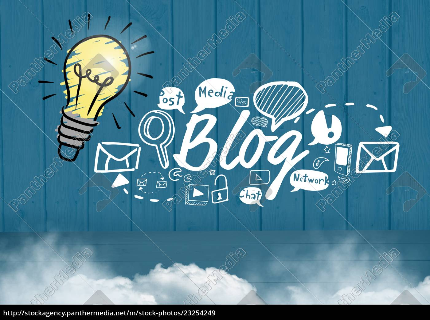 colourful, lightbulb, and, blog, text, with - 23254249