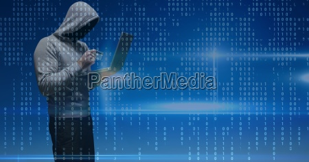 digital composite image of hacker holding