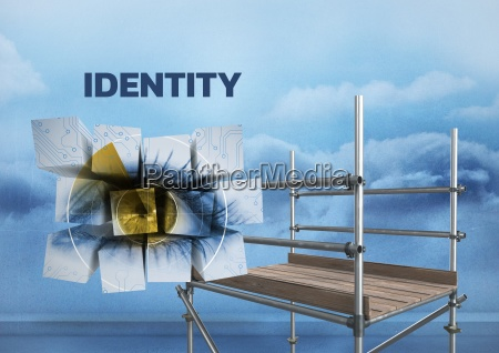 identity text with 3d scaffolding and