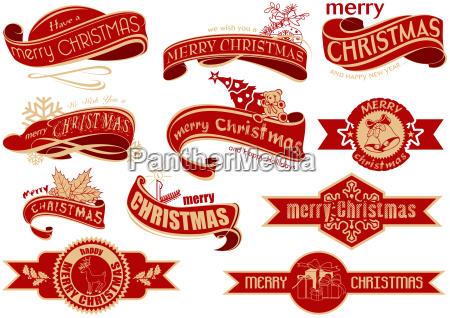 red christmas banner set