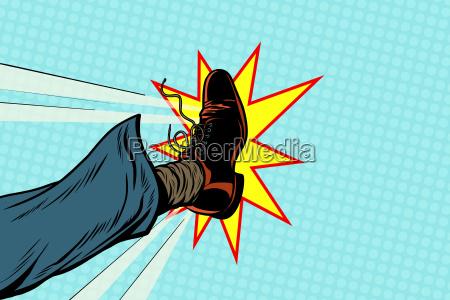 businessman kicking pop art foot