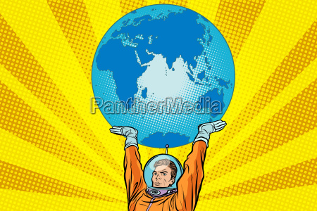retro astronaut is holding the planet