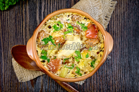 soup fish with vegetables and cream