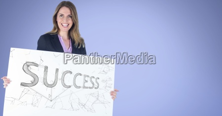 portrait of businesswoman holding billboard with