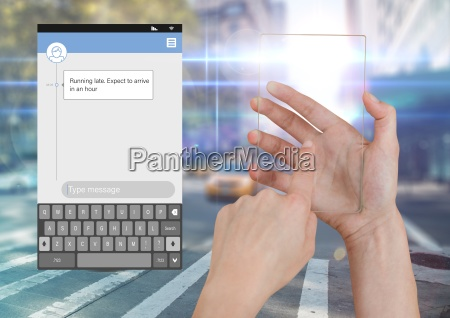 hand touching glass screen and social