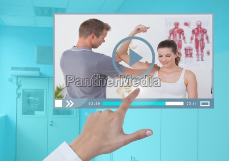 hand touching medical doctor video player