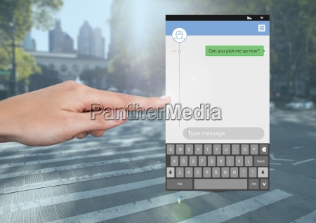 hand touching social media messenger app