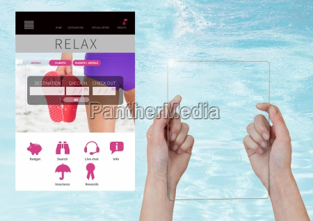 hand holding glass screen relax holiday