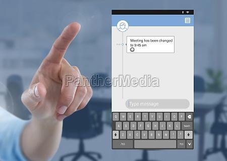 hand touching social media messenger app