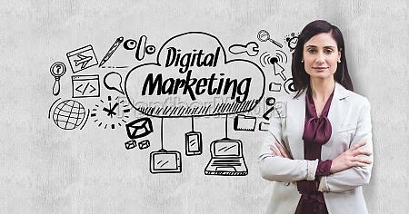 digital composite image of businesswoman standing