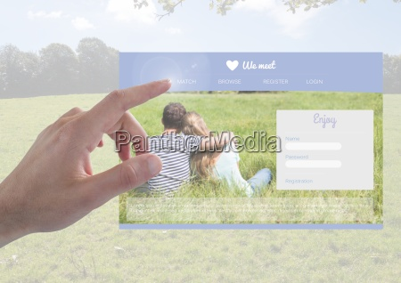 hand touching a dating app interface