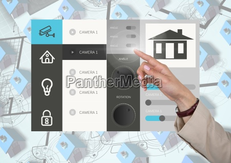 hand touching a home automation system
