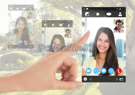 hand, touching, social, video, chat, app - 23270143
