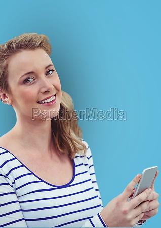 portrait of happy woman holding smart