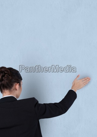 rear, view, of, businesswoman, touching, blue - 23271355