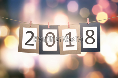 2018 number on paperboard for new