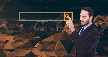 businessman touching search screen
