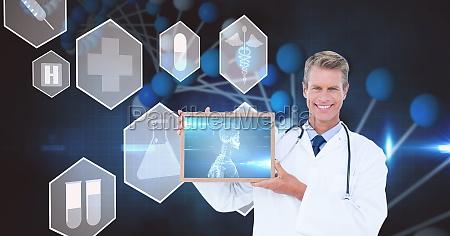 digital composite image of doctor showing