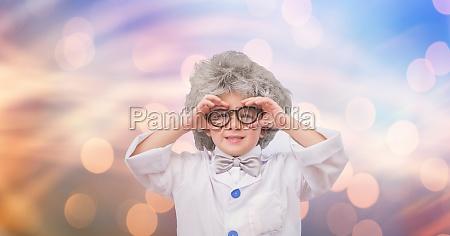 little einstein wearing eyeglasses over bokeh