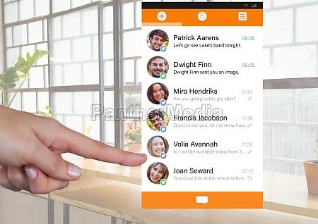 hand touching social media app interface