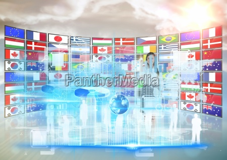 panel with flagssunset business woman doing