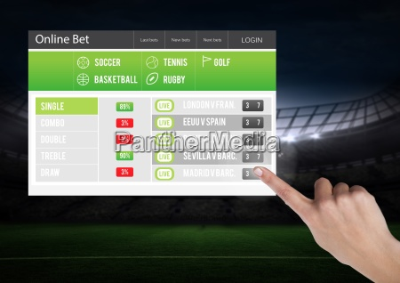 hand touching a betting app interface