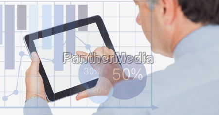 businessman touching digital tablet with overlay