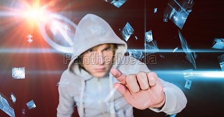 hacker touching screen