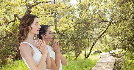 double exposure of women with hands