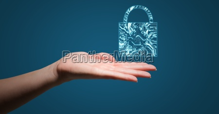 hand with blue lock graphic over