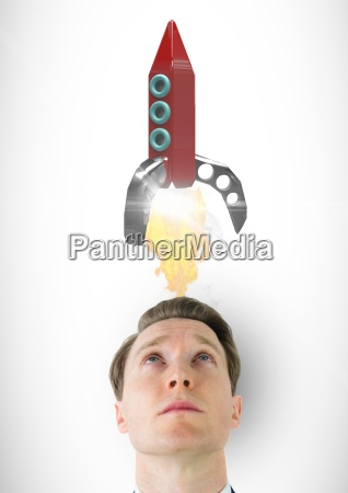 digital composite image of man looking