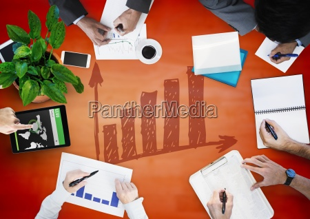 overhead of business team with red