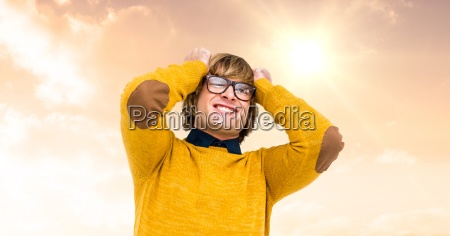 frustrated young man with hand in