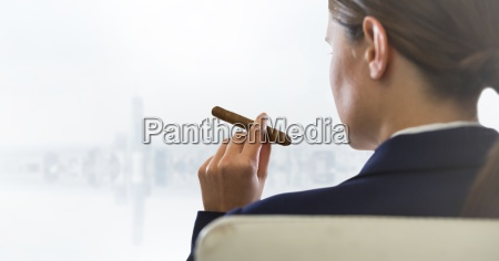 over shoulder of seated business woman