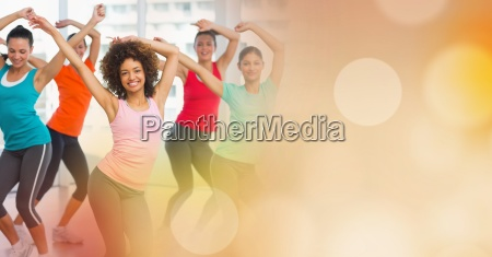 women dancing and yellow bokeh transition