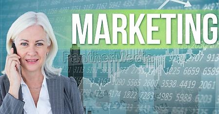 digital composite image of businesswoman talking