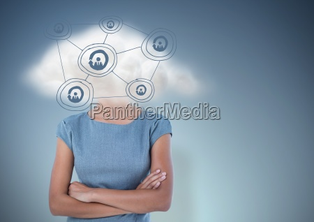 business woman arms folded with cloud