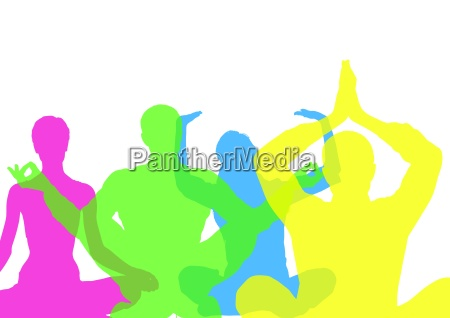 intense color silhouettes doing yoga