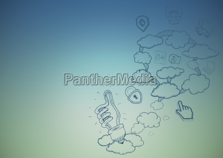 blue green background with cloud doodles