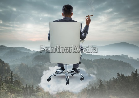 businessman back sitting in chair with