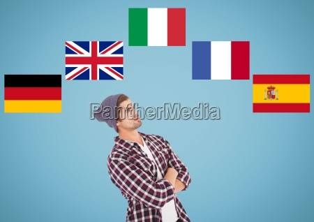 main language flags around young man