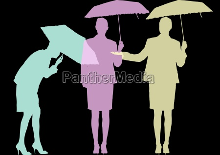 businesswoman with umbrella silhouettes in