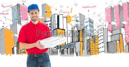 digital composite image of pizza delivery