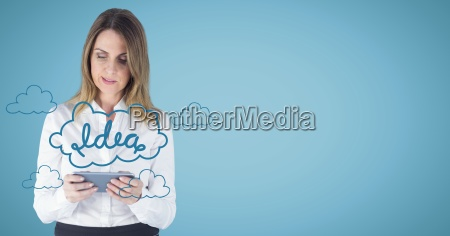 business woman with tablet behind blue