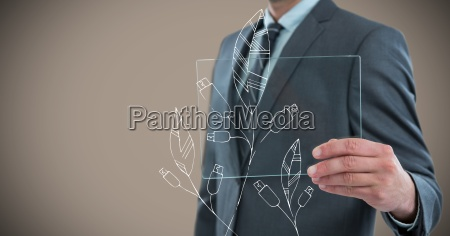 business man mid section with glass