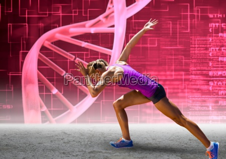 runner with pink dna chain wall