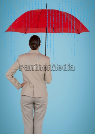 back of business woman with umbrella