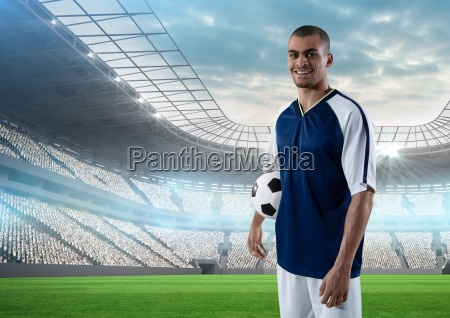 soccer player with ball in the