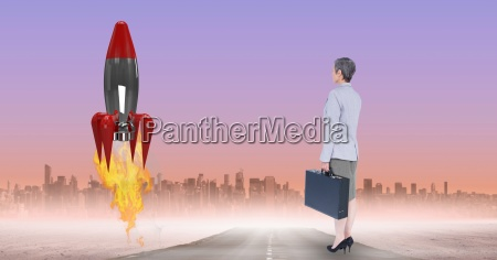digital composite image of businesswoman watching