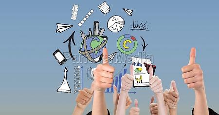 digital image of hands gesturing thumbs